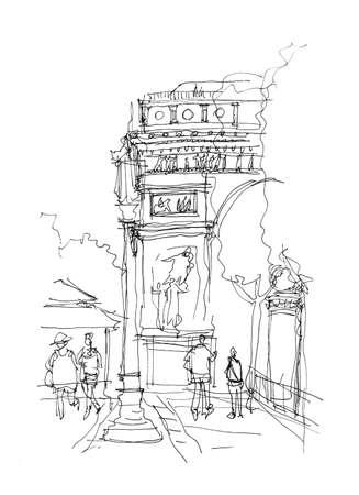 arc: Arc de Triomphe sketch doodle