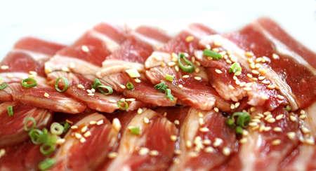 yakiniku: raw beef slice for barbecue or Japanese style yakiniku