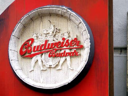 budvar: Budweiser beer, wooden medival style logo