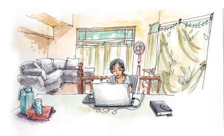 telecommute: Asian girl working with computer from home hadn painting illustration
