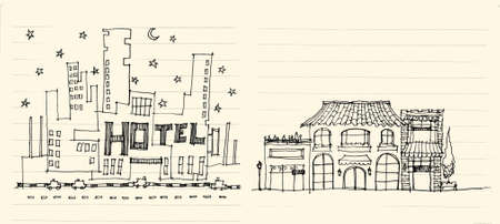 elevation: architecture elevation of hotels street, shops, restaurant and apartment illustration