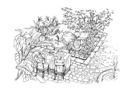patio furniture: dining settiing in the garden scene hand drawing illustration