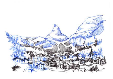 matterhorn: matterhorn zermatt green city hand drawing illustration