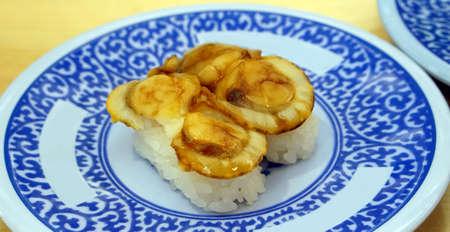 hotate: grilled scallop nigiri sushi, aburi hotate
