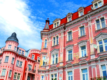 vary: beautiful colourful architectures of Karlovy Vary in Czech Republic. Famous hot spring city
