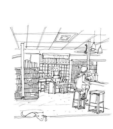 bocetos de personas: cafetería cafetería, tienda de cocinero gato y perro, ilustración del concepto de negocio