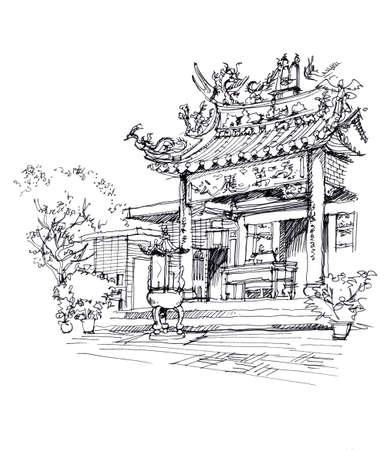 중국 사원의 펜 드로잉 스케치 그림