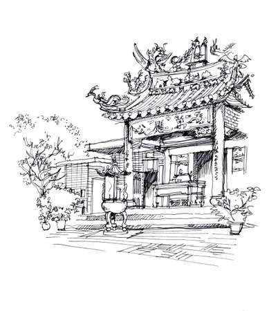 chinese temple pen drawing sketch illustration Stock Photo