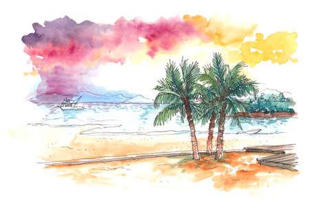 코코넛 나무와 해변에서 일몰의 수채화 그림