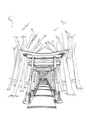 kyoto: Red gate toriiFushimi Inari, Kyoto landmark hand drawing illustration Stock Photo