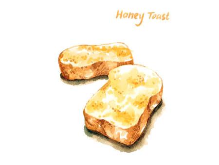 꿀 프렌치 토스트 수채화 그림 격리 된 배경