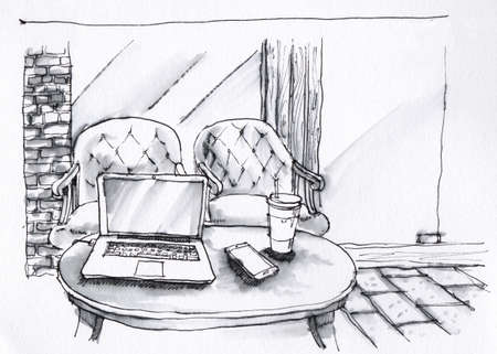 black coffee: coffee shop interior black and white illustration on white paper texture