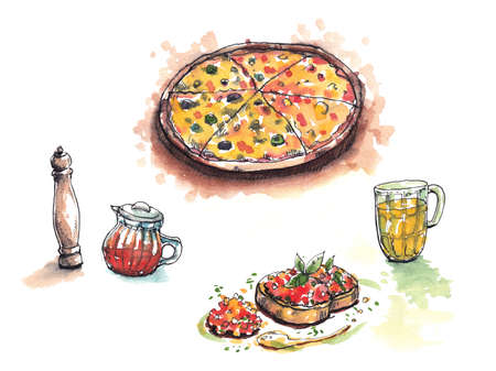 garlic bread: Italian food, pizza, anitipasto, pepper, chilli oil and  beer water color illustration