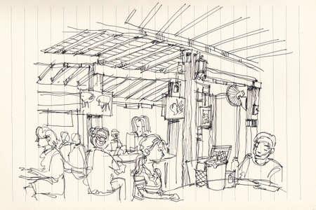 restuarant: Thai street food restuarant atmosphere illustration sketch Stock Photo