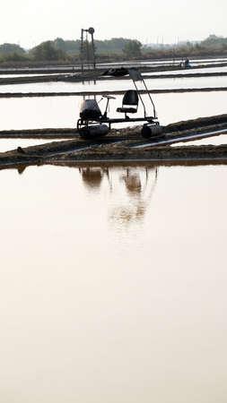 sel: Machine at flower of sea salt in salt farm, salt field with morning sun