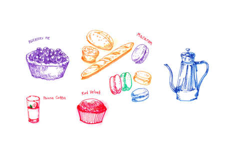 panna cotta: Tea party with variety of dessert hand drawing illustration Stock Photo