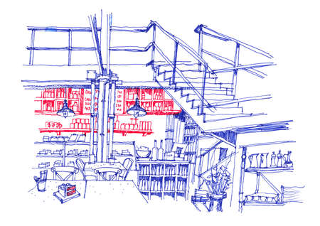 furniture detail: cafe coffee shop interior line hand drawing red and blue
