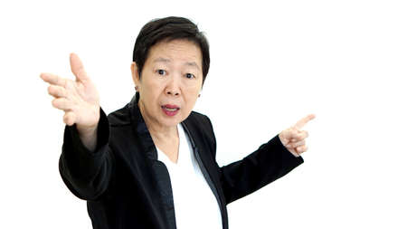 scold: Asian senior business woman shouting and angry abstract loss in profit