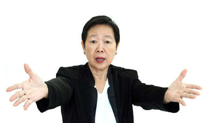 sarcastic: Asian senior business woman shouting and angry abstract loss in profit