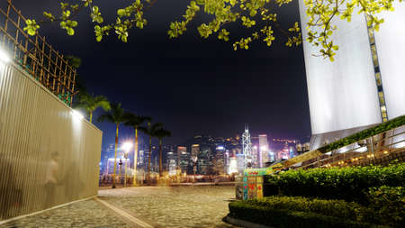 ifc: Hong Kong - April 2016: Skyscrapers of Hong Kong. World famous skyline at night attracted tourist