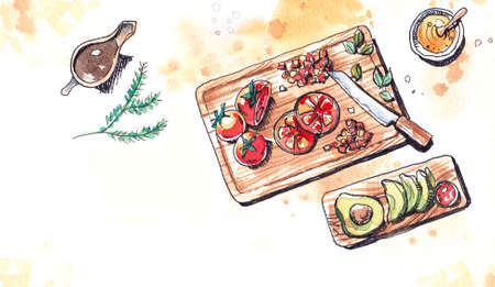avocados: Bright tomatoes and avocados preparation watercolor illustration Stock Photo