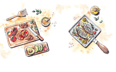mediterranean: mediterranean food prepare, grill fish in olive oil and fresh tomatoes and avocados  watercolor illustration