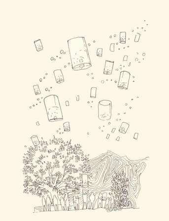 loy krathong: Hand illustration of floating lantern in loy krathong festival thaialnd Stock Photo