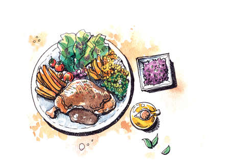 protien: healthy food steak with salad flat lay watercolor illustration painting