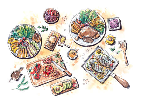 lay: healthy food steak, salad, fish, fruits and bread flat lay watercolor illustration painting