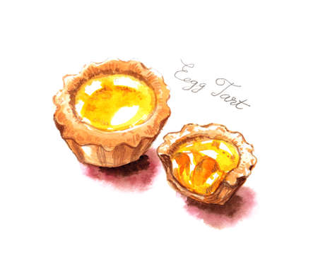 Egg tarts watercolor painting illustration famous food of Hong Kong Stock Photo