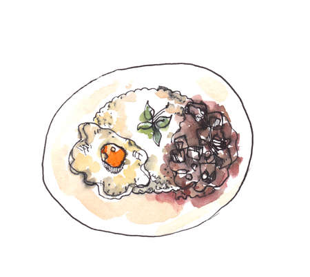 Hand illustration of beef curry over rice and fired egg