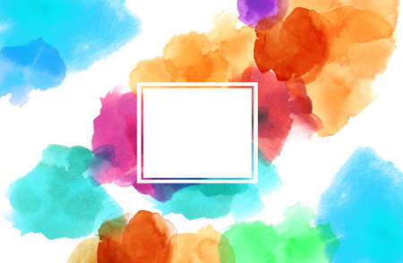 colorful spotty watercolour illustration painting copy space