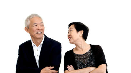 formal attire: Asian senior couple partner dress in formal attire. Beautiful and handsome cool old people