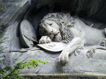 The Lion Monument (Löwendenkmal), the Lion of Lucerne. a rock relief in Lucerne, Switzerland, Banco de Imagens