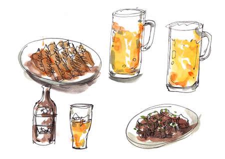 Japanese izakaya style illustration. Cold beer with gyoza and beef