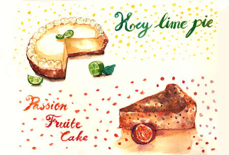 Key lime pie and passion fruit cakes watercolor painting Stock Photo