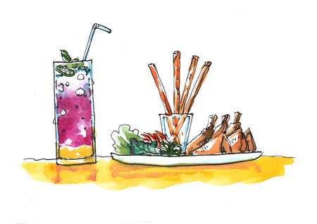 patties: Watercolor illustration Asian fried rolls appetizer and drinks Stock Photo
