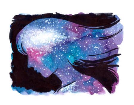 여자의 머리와 영혼 안에 우주 은하계의 수채화 그림. 행복 마음의 개념적 그림