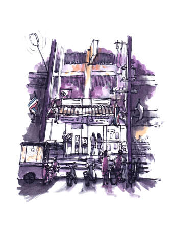 mart: watercolor painting of Thailand convenience store open at night Stock Photo
