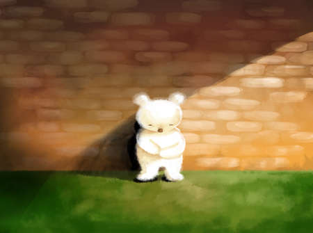 Sad, lonely abstract concept illustration white teddy bear standing alone Stock Photo