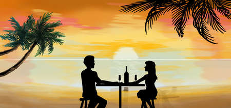 Romantic couple dinner at tropical sunset illustration