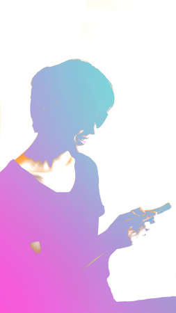 Abstract colorful young generation with modern lifestyle, smartphone and technology Stock fotó