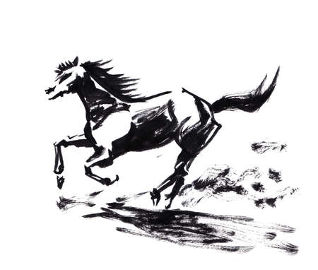 caligraphy: Horse running chinese brush painting, artistic caligraphy