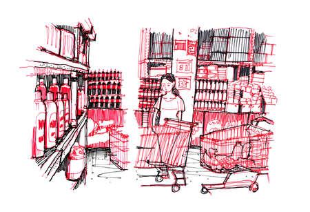아시아 슈퍼마켓에서 쇼핑하는 여자 선 그리기 스톡 콘텐츠