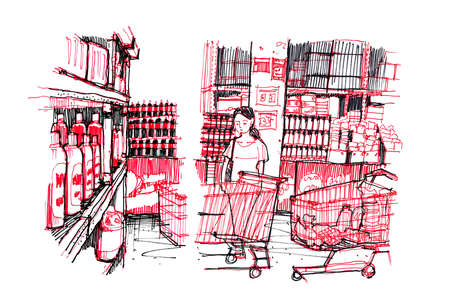 mujer en el supermercado: Woman shopping in Asian supermarket doodle line drawing Foto de archivo