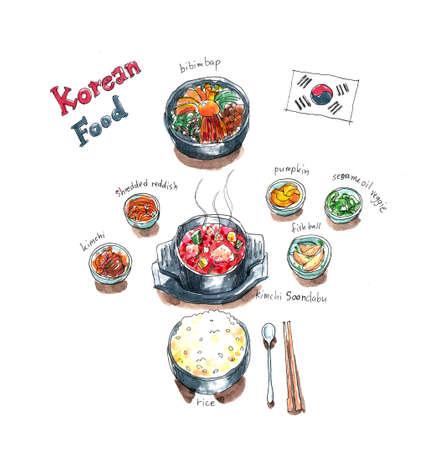 한국 음식 세트 낙서, 김치 국물, 비빔밥과 반찬 수채화 그림