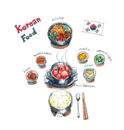 Korean food set doodle, kimchi soup, bibimbap and side dishes watercolor painting