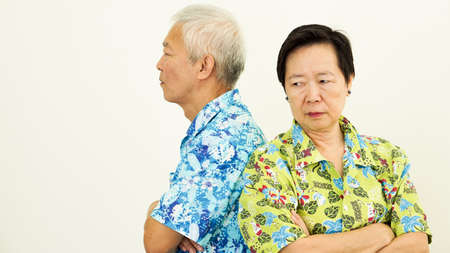 Asian senior couple unhappy, fighting. Relationship problem Stock Photo - 82452660