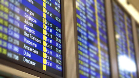 Flight time table schedule screen for international flights in airport Stock Photo