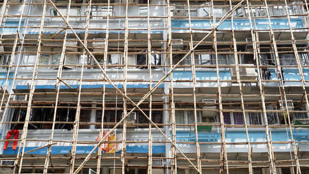 Hong Kong apartment bamboo scaffold safty renovate struction elevation Zdjęcie Seryjne